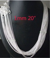 wholesale 20pcs 925 sterling Silver 1mm Rolo Chain 20 inch FREE Shipping,925 sterling silver chain necklace,925 silver jewelryj