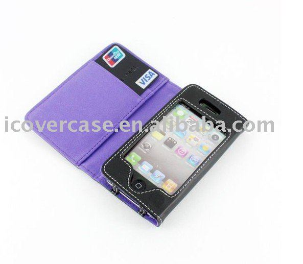 Hot Sale !!! 50pcs/lot Wallet Leather Case/leather cover/mobile phone leather case for iPhone 4 + free shipping(China (Mainland))