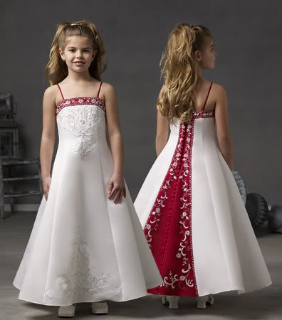 Free Shipping wholesale/retail New White/Red Flower girl Satin Beaded Evening Dress3 5 7 8 9 10 12(China (Mainland))