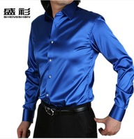 free shipping shirt Men's retail shiny silk satin long-sleeved
