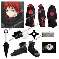 Freeshipping-anime products Naruto akatsuki cosplay costume cloak set Sasori