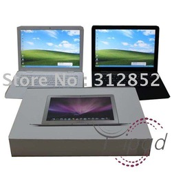 13.3 inch laptop Intel Atom D425 1g RAM 160G HDD WIFI camera thinnest laptop white black(China (Mainland))