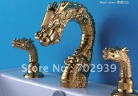 Free shipping gold pvd  brass Bathroom Sink Faucet  ANIMAL FAUCET DRAGON FAUCET