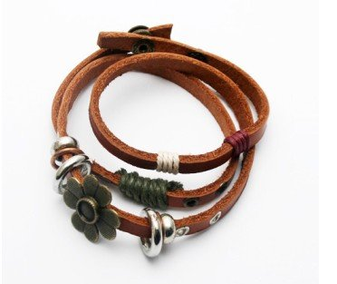 Free shipping--Leather flower bracelet--leather bracelet(China (Mainland))