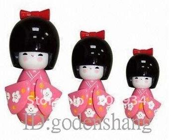 Wholesale home decoration fashion  Original wooden dolls, little doll 10Set/(3pcs/set)+ Free shipping