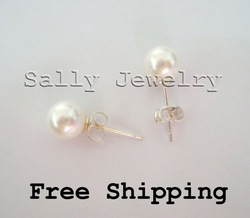 Wholesale (10Pairs/lot) 7mm White Mother of Pearl Stud Earrings S925 Free Shipping(China (Mainland))