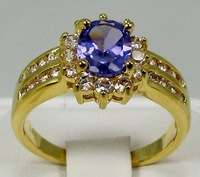 Free Shipping New Wholesale and retail Eximious alexandrite  Ring in 14K Yellow Gold GP #8