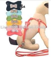 10pc/lot Factory Sale 2015 Fashion Pet Products Pet sparkling diamond bones harness, leash, pet collar