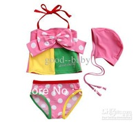 FREE SHIPPING--Baby girl 3-piece Schle Swimwe set Bikini Swimwear Baby girls Bikini Swimwear-Girls bathi hot sale 10pcs/lot