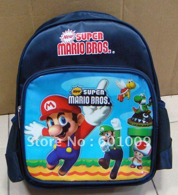 Bolsa Mario Bros Mochila Escolar Infantil Frete grátis New Super 2 atacado e varejo(China (Mainland))