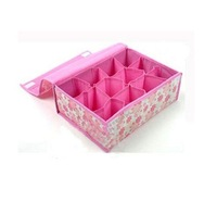 HOT SALE storage bags cases stool underwear storage box Organizer Holder Box Closet BRA storage box with cover 12 lattices pin