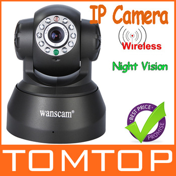 Promotion Nightvision IR Webcam Web CCTV Camera WiFi Wireless IP Camera, white/ black color,dropshipping wholesale