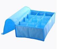 HOT SALE storage bags cases stool underwear storage box Organizer Holder Box Closet BRA storage box with cover 12 lattices blue