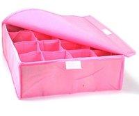 HOT SALE storage bags cases stool underwear storage box Organizer Holder Box Closet BRA storage box with cover 16 lattices pink
