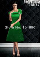 free ship,stain,off-shoulder  bridesmaid dress, short dress,A-line dress,green