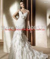 Free shipping new style custom-made spaghetti strap wedding dress/ sexy long wedding dress/ wedding gown /bridal dress