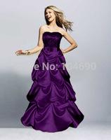 Freeship New Debutante dress,2014 New Style Prom Dresses Evening Gowns Floor Length purple