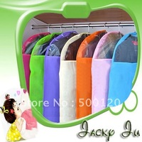 11pcs/Lot Free Shipping New Large Size Colorful Garment Suit Dustproof Dress Storage Cover Bag Case Solid Breathable