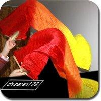 100% Real Silk Fan Veil For Belly Dance 180cm Veil Fan Free Shipping