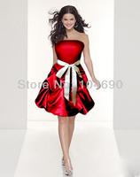 free ship, strapless bridesmaid dress, ball gown,short dress, red maid dress