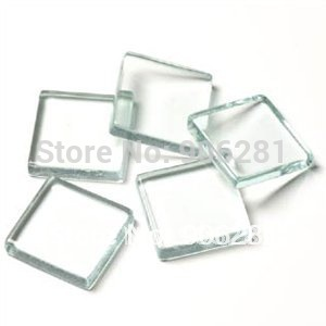 1 Inch Clear Glass Tiles, 25mm Flat Square Glass Tiles Great to Make Pendants with Glue on Bails