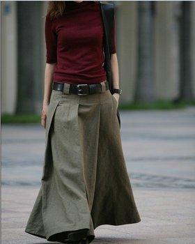P011 2014 NEW high quality women's linen pant skirts pant wide leg pant Custom made Custom made