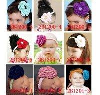girl crocheted headband hair holder 96pcs mix colour hair bow -infant headbands baby