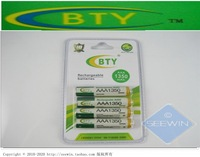 free shipping 12pcs/lot BTY AAA NiMH 1350 mAh Rechargeable Battery