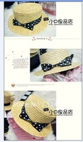 2011 HOT woman's Polka Dot bowknot Straw hat