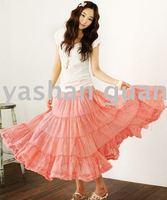 Korean Bohemian large hem Vertical stripes cotton long ,Maxi Sheer Skirts,tulle,nude &Free Shipping