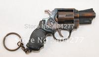Classical Metal Imitation Revolver Gun Handgun Weapon Model with Keychain Keyring Decorated Hang Decorations Ornaments