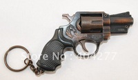 Metal Imitation Revolver Gun Handgun Weapon Model with Keychain