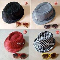 Mix order Fedoras Hats Children's Caps Hat Grid cap For kids Trendy Headgears Fashion Headwear