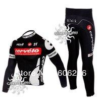 Free Shipping!! WINTER THERMAL FLEECE CYCLING LONG JERSEY+PANTS 2012 Cycling Kit / Jersey / Pants Bike Clothes BLACK-SIZE:XS-4XL