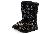 Wholesale/retail Newest Rivet Knee-high Snow Boots,studs sheepskin genuine leather boots iron nail,black classic tall,(China (Mainland))