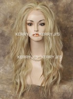 2012 New 24inch LACE FRONT WIG Heat Safe Pale Blonde Mix Long Wavy free shipping