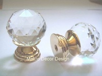 Clear crystal furniture knob\10pcs lot\30mm\brass base\brass polished plated