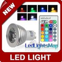 free shipping rgb led light 3W GU10 Remote Control LED Bulb 16 Color Changing RGB LED Lamp AC 100-240V[LedLightsMap]