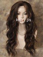 Heat OK Lace Front Wig Long Wavy Brown Auburn Mix
