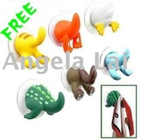 Free Shipping, Lovely Utility Home Hooks, Animail Tail Design, for Bag/Clothes/Towel/Hat/Baby's Toy, 30 pcs/lot