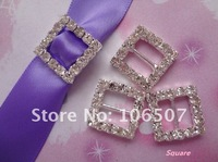 FREE SHIPPING 50PCS (50 PCS=1 PACK) Square A-Grade Rhinestone Buckle Ribbon Slider Craft