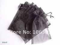 FREE SHIPPING 100PCS 10x15cm BLACK Sheer Organza Wedding Favour Gift Bag