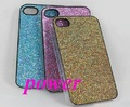 Glitter hard back case cover bling shining case leather stick For iphone 4G OS 4 4th