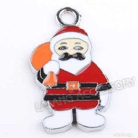 30pcs/lot Fashion Alloy Santa Clause Rhodium Plated Pendant Charms Metal Beads Wholesale Dangle Beads 29*16*2mm 140170