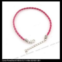 30x Fashion Plum Leather Braided Bracelet Cord Jewelry Findings with Lobster Clasp Fit Charms DIY 20cm 130156