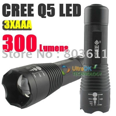 5pcs CREE Q5 LED Zoomable Adjustable Focus 3 Modes Aluminum alloy Flashlight Torch 300 Lumens(China (Mainland))