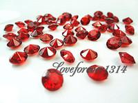 FREE SHIPPING--10000pcs 1Carat(6.5mm) Crimson Red Diamond Confetti Wedding Party Decoration