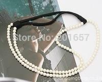 Wholesale freeshipping fashion double pearl headband hairband hair accessory 24pcs/lot