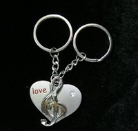 90mm cute key chains free shipping 12pairs/lot adorable charming print love new  heart key chains