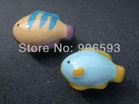 24pcs lot free shipping Porcelain blue fish cartoon cabinet knob\cartoon knob\porcelain knob\drawer knob